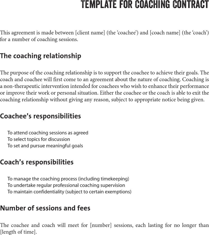 Marvelous Life Coaching Contract Template