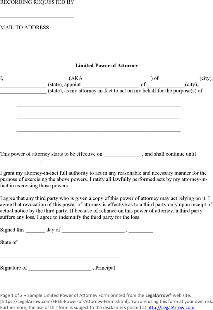 Download Limited Power of Attorney Form for Free - TidyForm