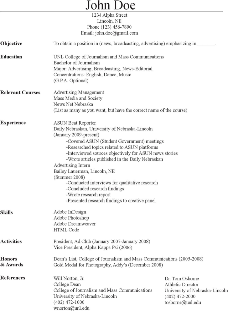 download mass communication journalism resume for free tidyform
