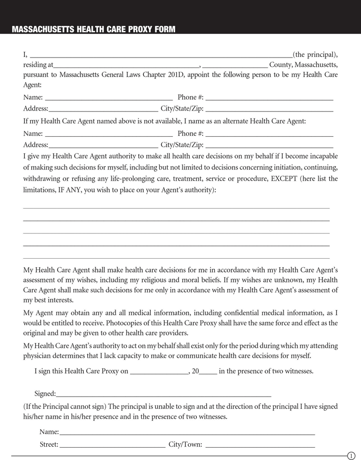 Massachusetts Health Care Proxy Form 3