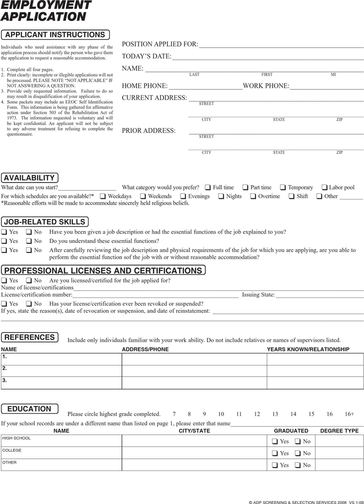 Download Massachusetts job Application Form 1 for Free - TidyForm