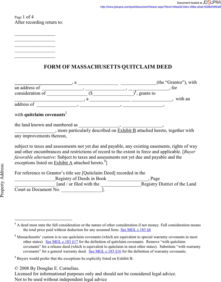 Download Massachusetts Quitclaim Deed Form 1 for Free - TidyForm