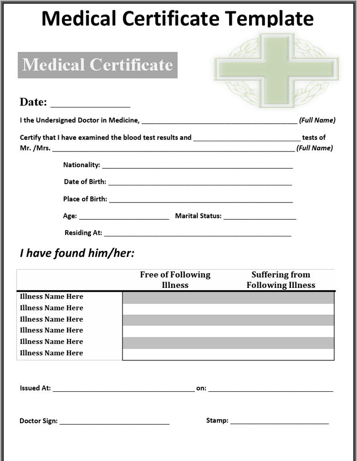 The Medical Certificate Template can help you make a professional – Medical Certificate Form
