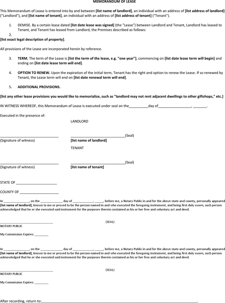 The Memorandum of Lease Agreement Templates in PDF Word Excel – Sample Memorandum of Agreement
