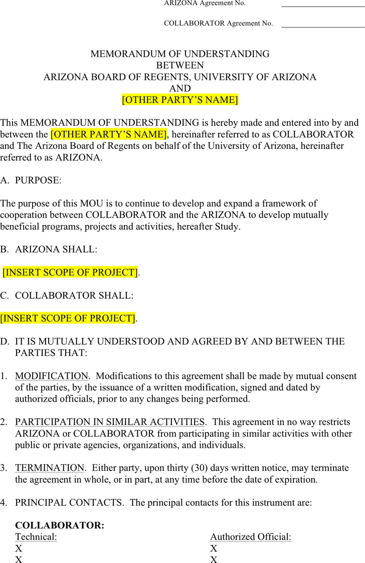 the arizona memorandum of understanding template can help you make arizona memorandum of understanding template