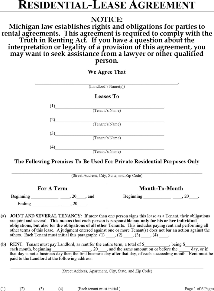 The Michigan Residential Lease Agreement Form can help you make a – Apartment Lease Agreements
