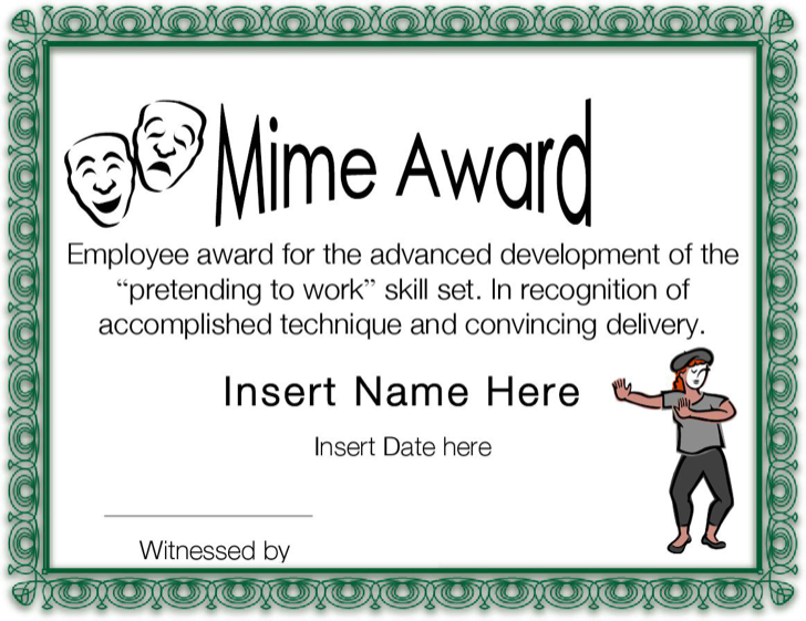 Download Mime Award Funny Certificate Template Printable for Free – Funny Certificates Template