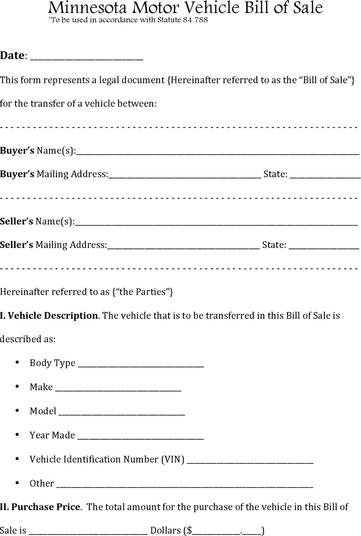 bill of sale for motor vehicle template