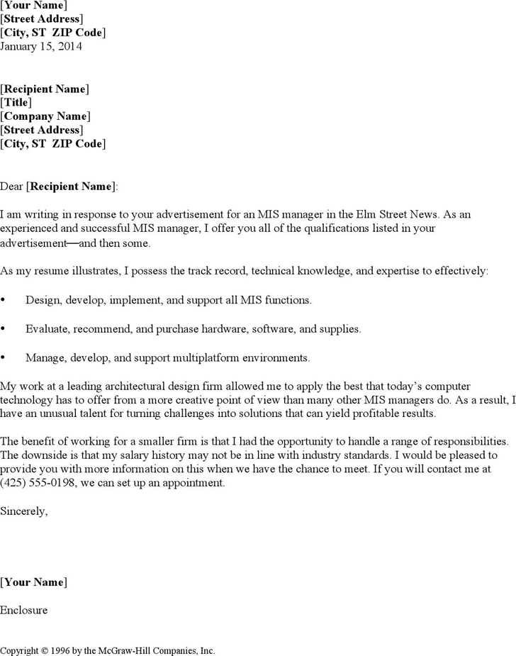 mis manager resume cover letter - Example Resume Cover Letters