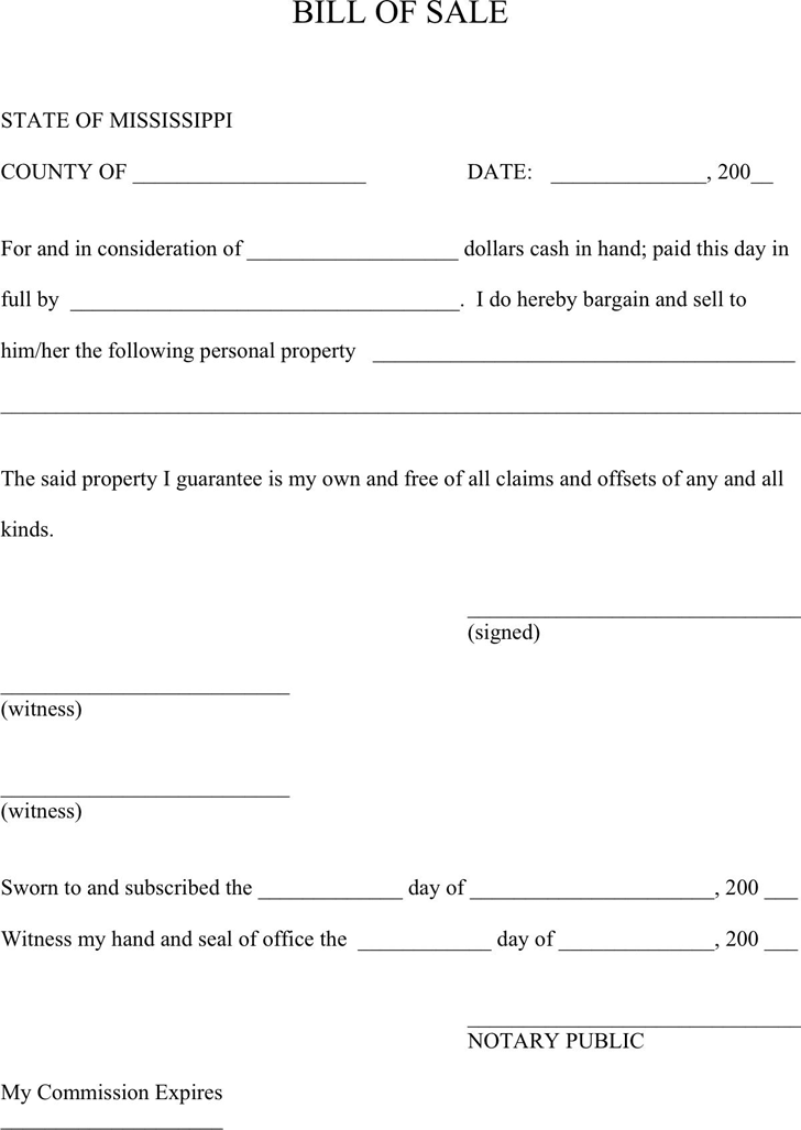 The Mississippi Personal Property Bill of Sale Form can help you ...