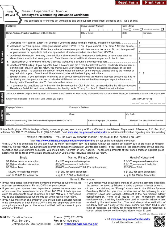 Download Missouri Form MO W-4 for Free - TidyForm