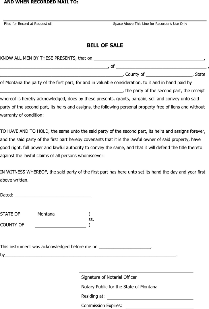 The Montana Personal Property Bill of Sale Form can help you make ...