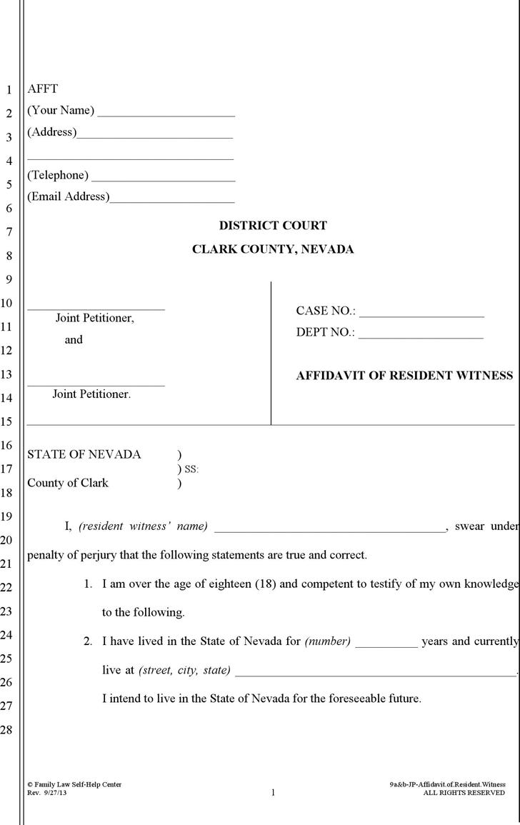 Download Nevada Affidavit of Resident Witness Form for Free - TidyForm