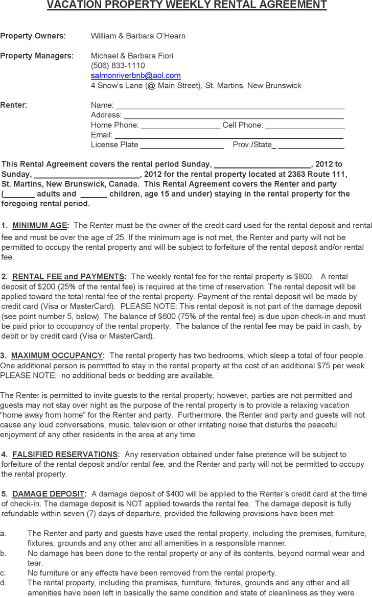 The New Brunswick Vacation Property Weekly Rental Agreement Form – Sample Short Term Rental Agreement