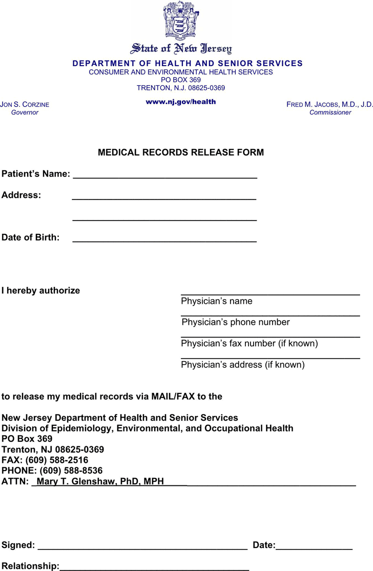 The New Jersey Medical Records Release Form 1 can help you make a – Medical Records Release Forms