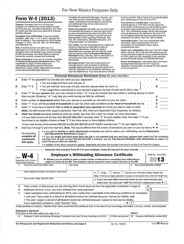 The New Mexico Form w4 2013 can help you make a professional – W 4 Form Worksheet