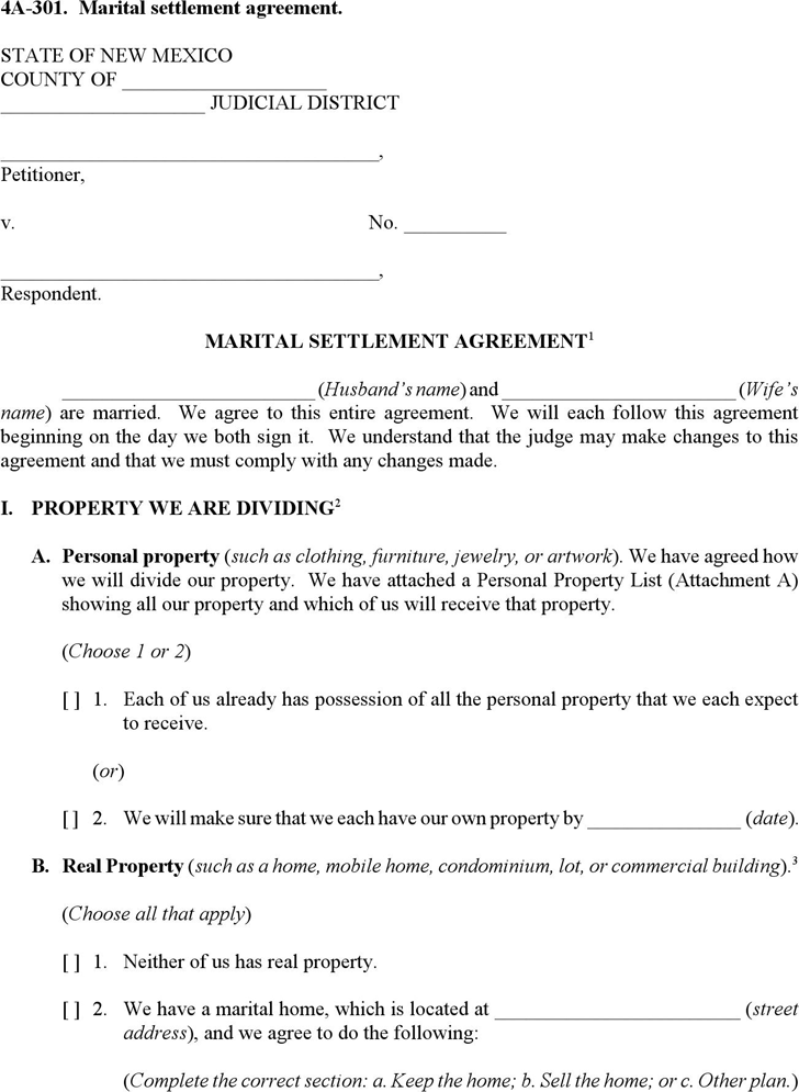 Download New Mexico Marital Settlement Agreement Form for Free ...