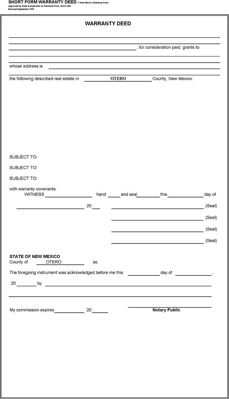 The New Mexico Short Form Warranty Deed can help you make a – Warranty Deed Form Template
