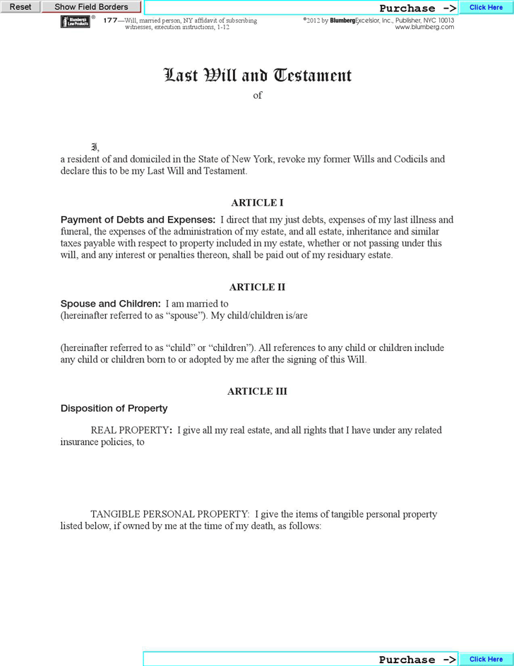Download New York Last Will And Testament Form for Free - TidyForm