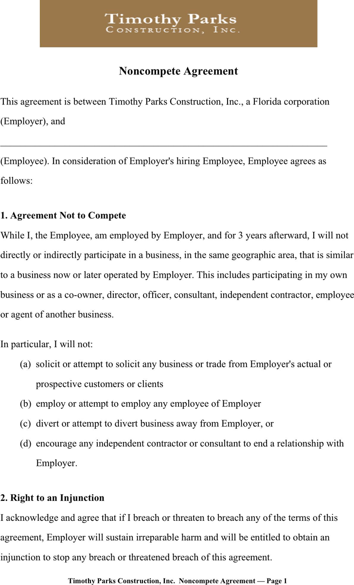 the non compete agreement sample templates in pdf word excel noncompete agreement