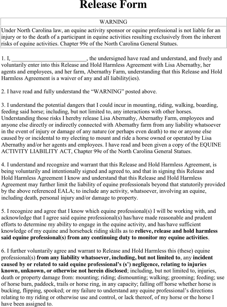 North Carolina Riding Liability Release Form 2  Liability Release Form Template Free