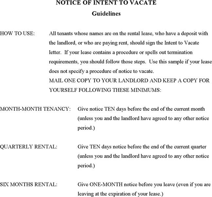 The Notice of Intent to Vacate can help you make a professional – Template Notice to Vacate