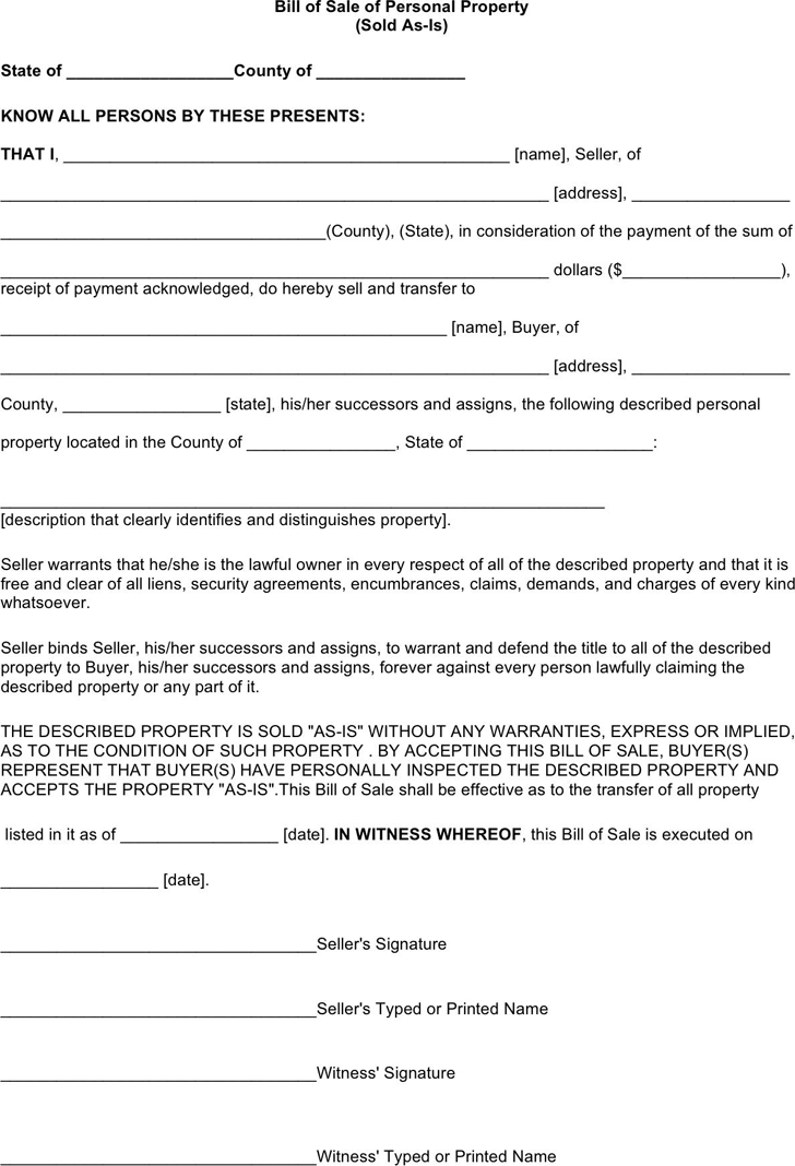 The Oklahoma Personal Property Bill of Sale Form can help you make – Legal Bill of Sale Template