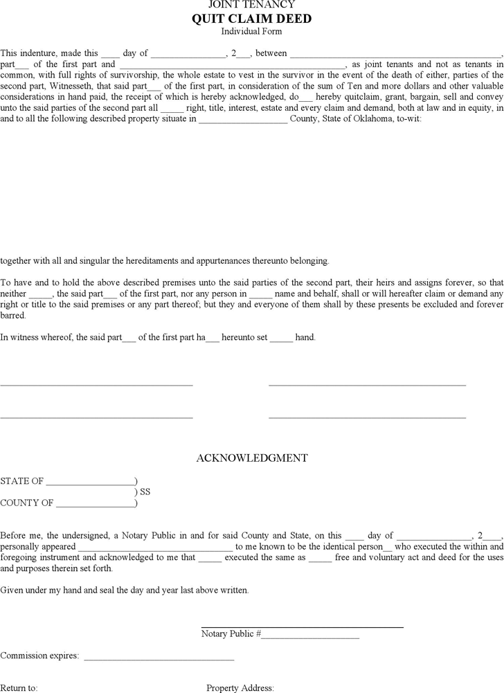 Download Oklahoma Quitclaim Deed Form for Free - TidyForm