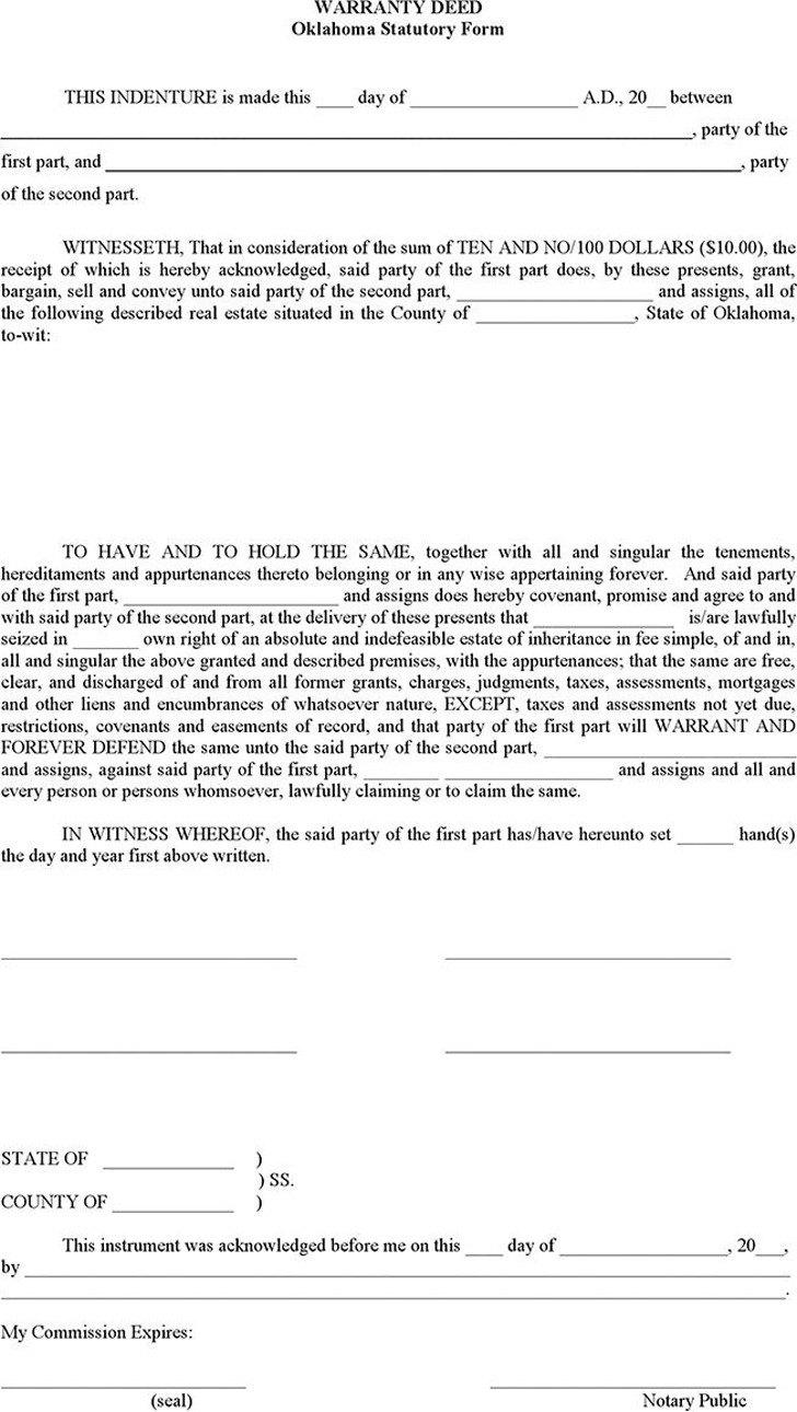 The Oklahoma Warranty Deed Form can help you make a professional – Warranty Deed Form Template