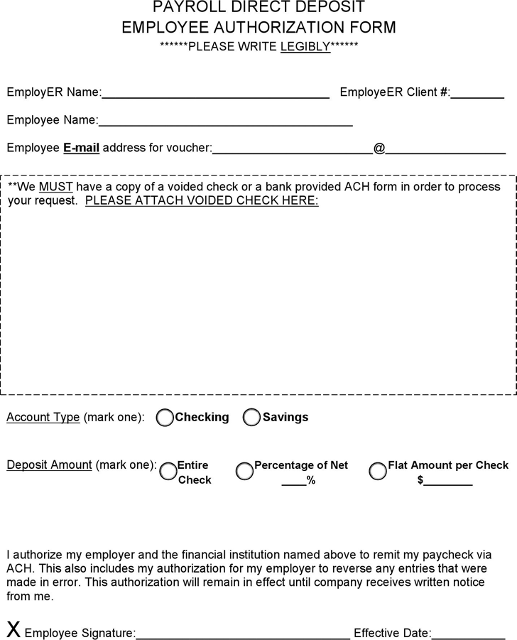 The Payroll Direct Deposit Employee Authorization Form can help – Sample Employment Authorization Form