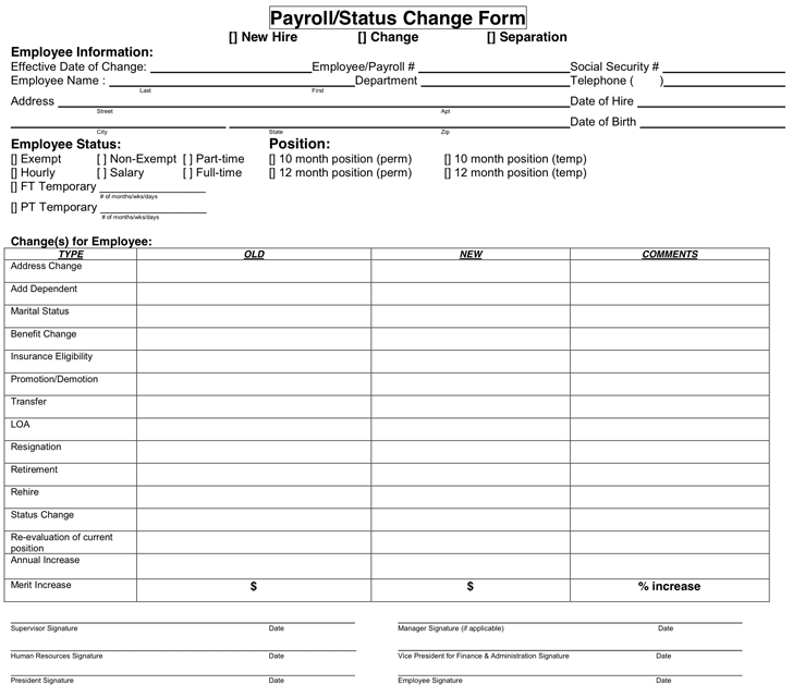 Download Payroll/Status Change Form for Free - TidyForm