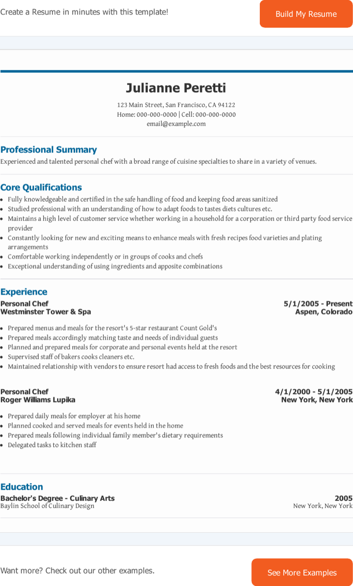 Personal Chef Resume . Commis Cook Resume Reentrycorps  Personal Chef Resume