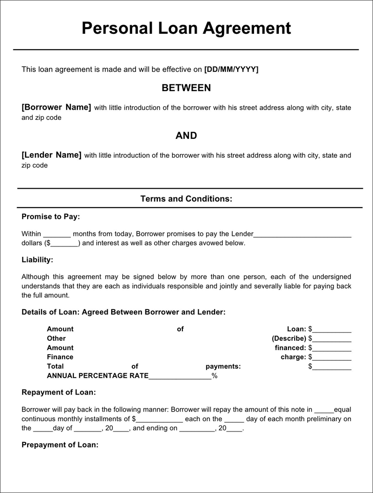 Doc468605 Sample Loan Contract 5 Loan Agreement Templates to – Loan Template Agreement