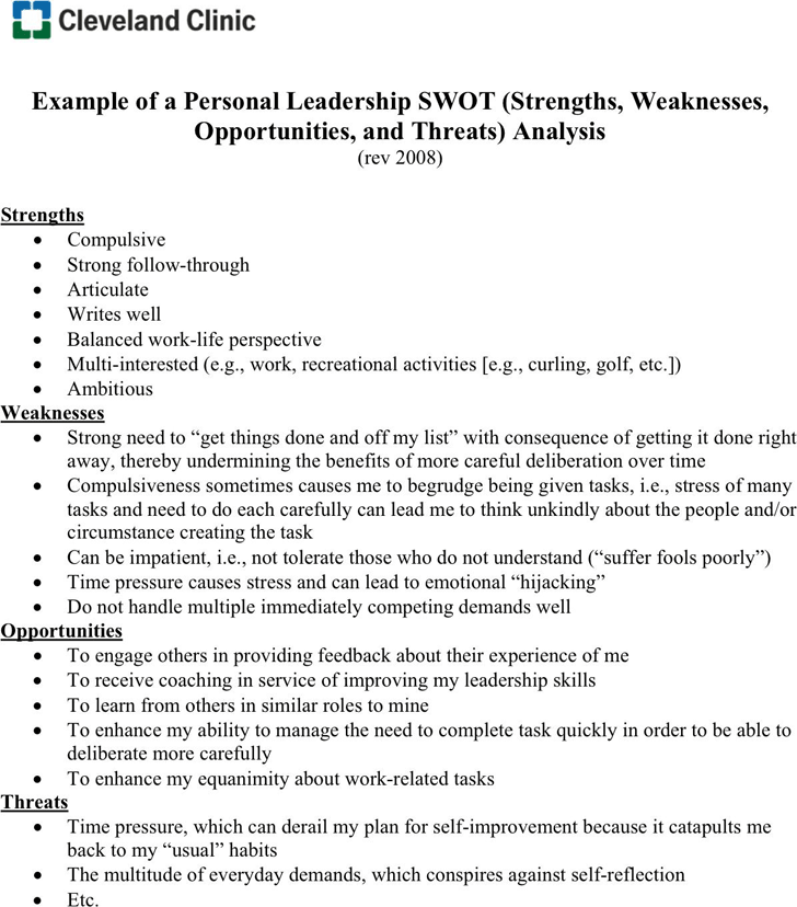personal swot analysis example for tidyform personal swot analysis example