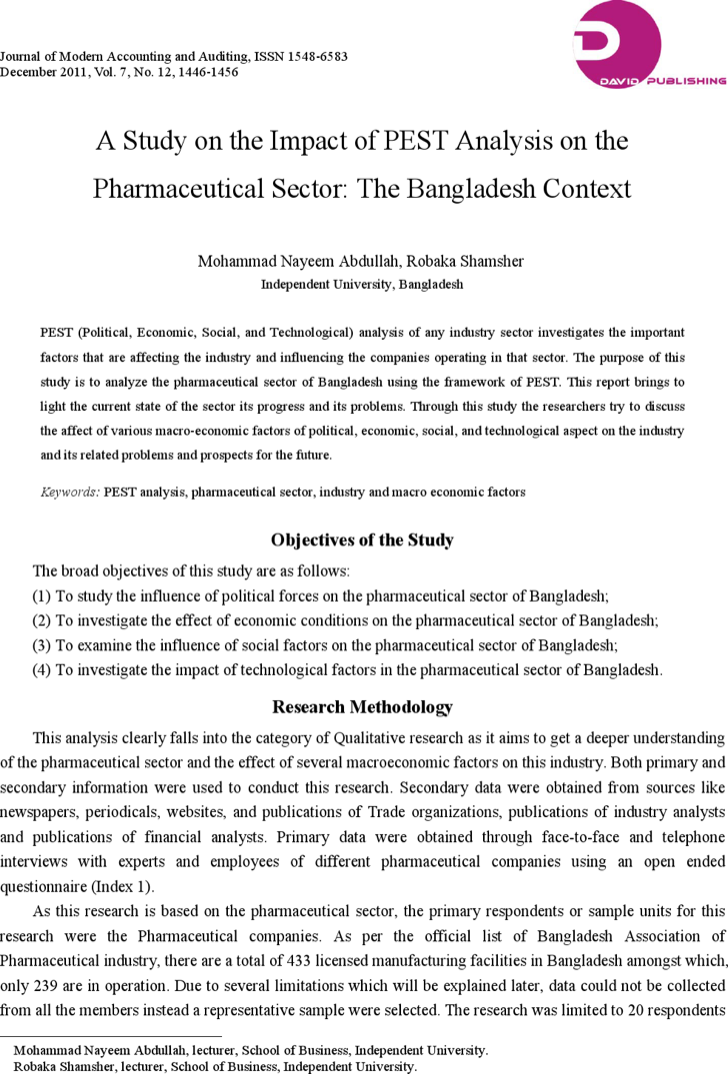 a pest analysis of pharmaceutical industry The case is broken in to different parts which is emphasized on how internal and external factors affecting the industry firstly, the main environmental forces currently affecting the industry through pest analysis secondly, the implications of the changes in business environment that is internal factors through porter's five.