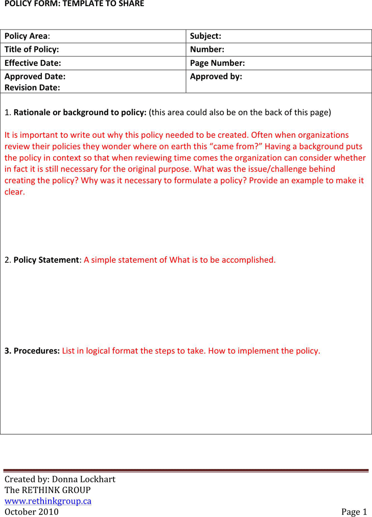 policy and procedures Download for free a sample policies and procedures template for this and also various other areas such as health, safety, hr, management and manufacturing.