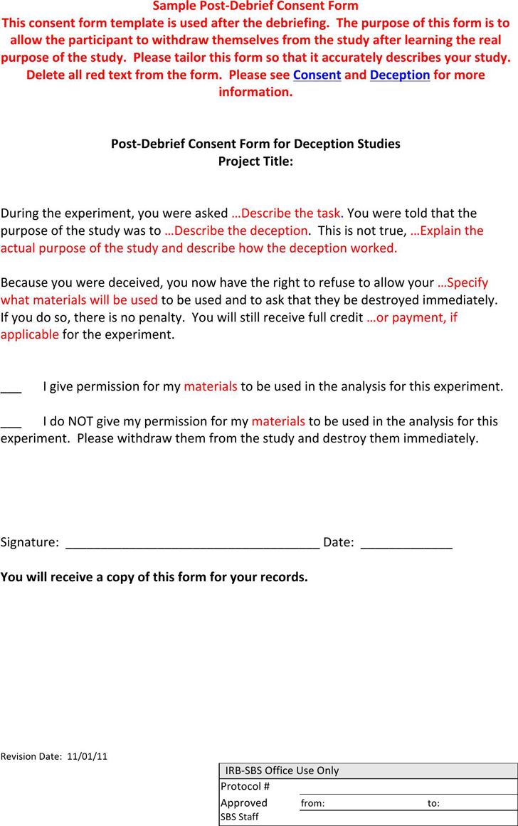 The Post Debrief Consent Form Can Help You Make A