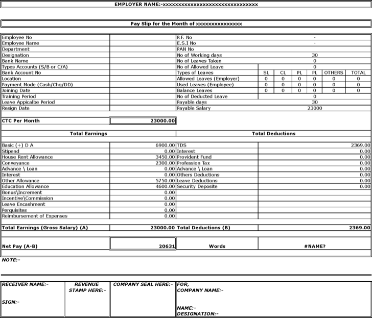 Doc683472 Salary Slip Format Download Free Download Salary – Download Salary Slip Format