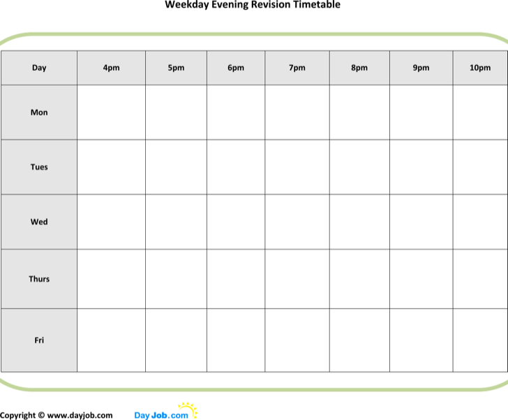 The Printable Evening Revision Timetable Template can help you make a ...