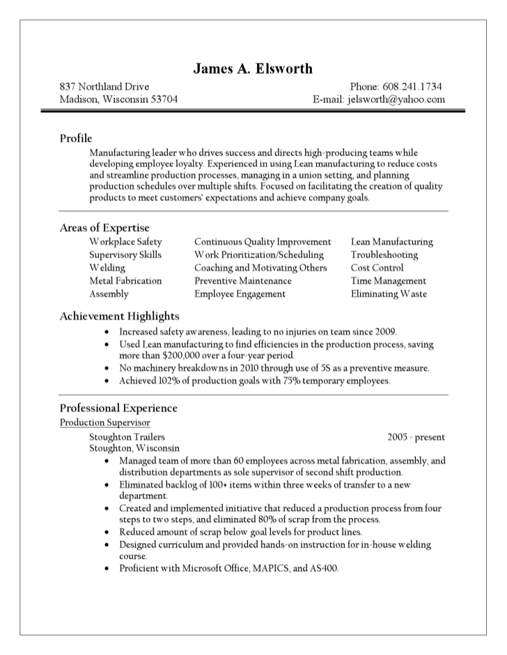 production supervisor resume printable