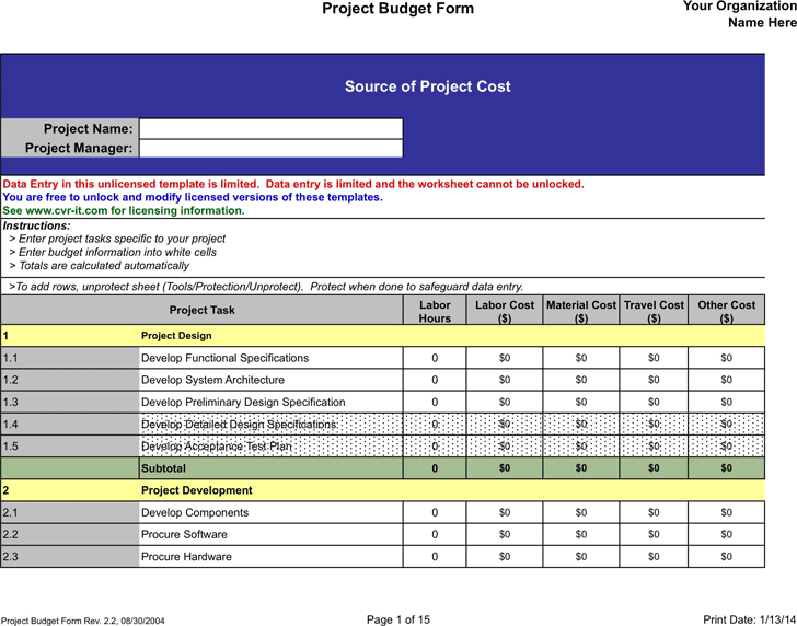 The Construction Budget Sample can help you make a professional – Budget Form
