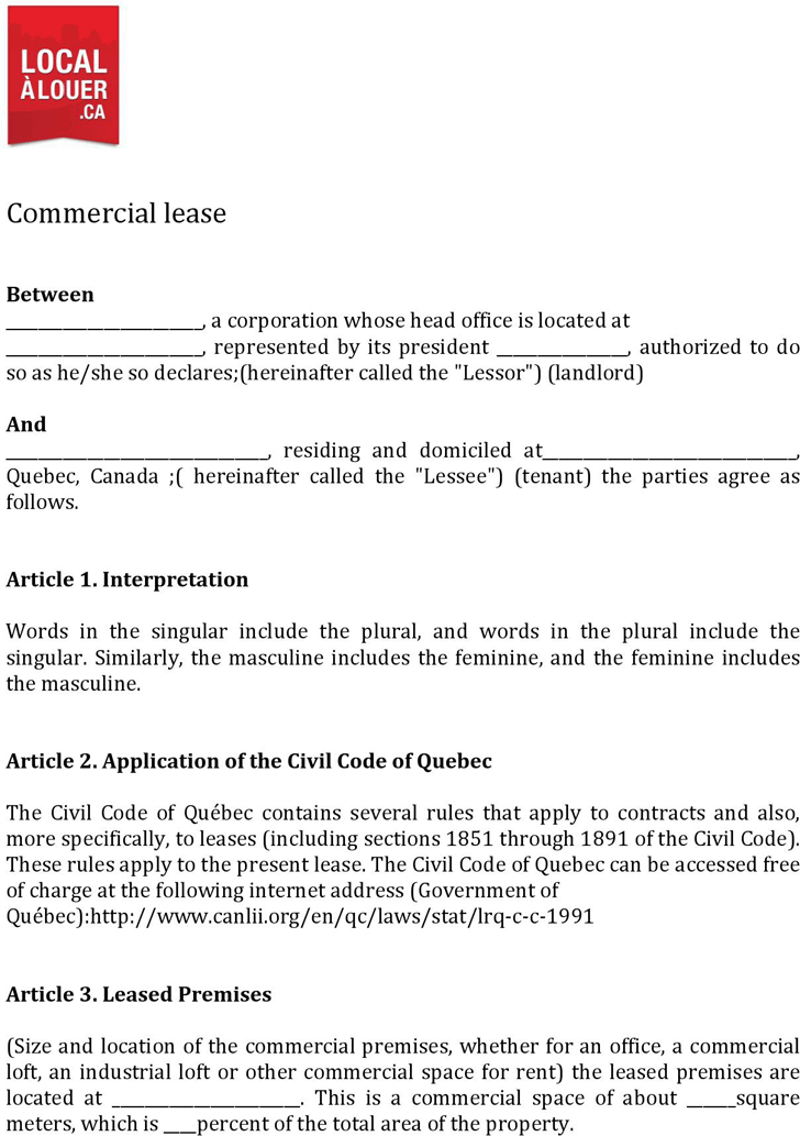 The Quebec Commercial Lease Agreement Form can help you make a – Commercial Lease Agreement Template Free