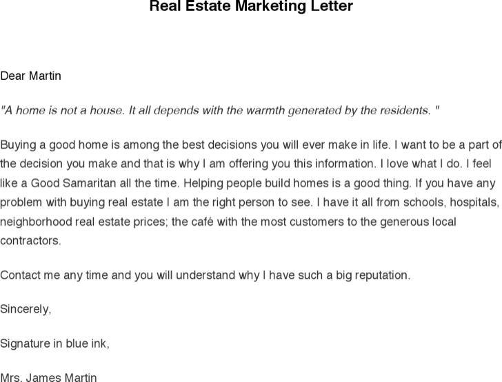 The Real Estate Marketing Letter can help you make a professional ...