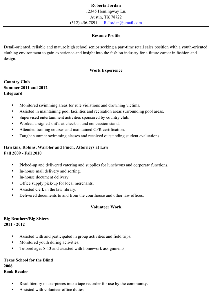 Resume Sample High School Graduate  Resumes For High School Graduates