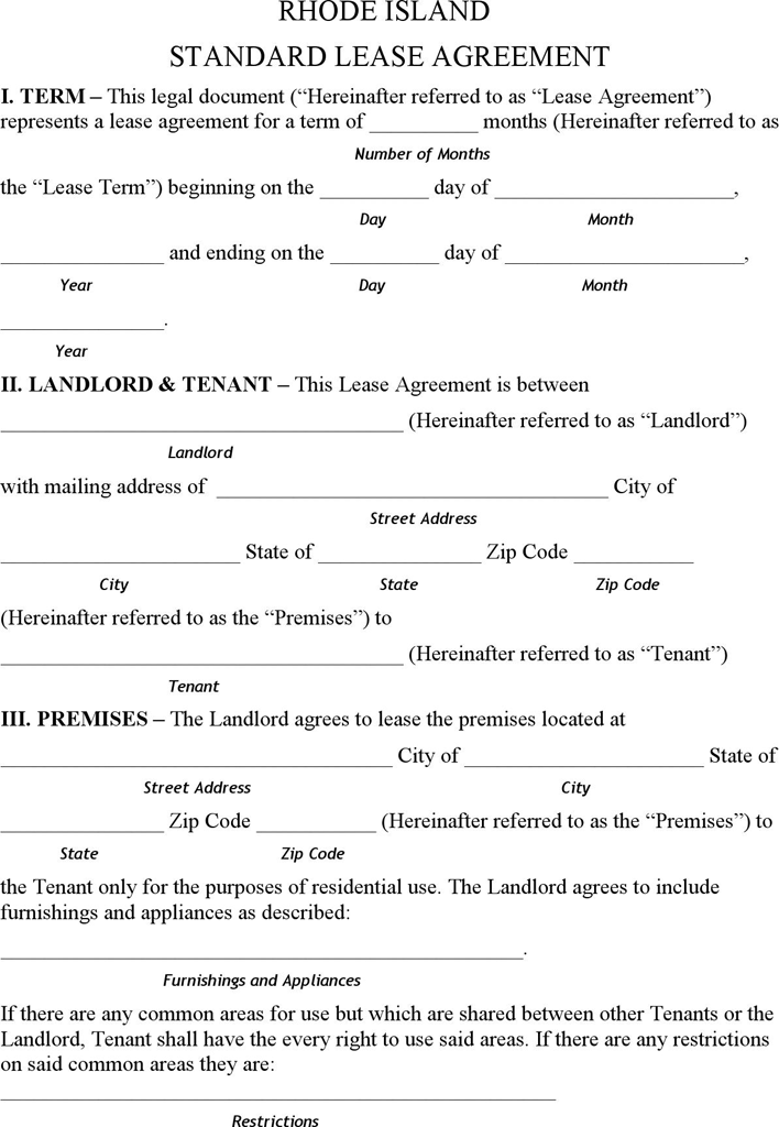 The Rhode Island Residential Lease Agreement Form can help you – Tenant Lease Form