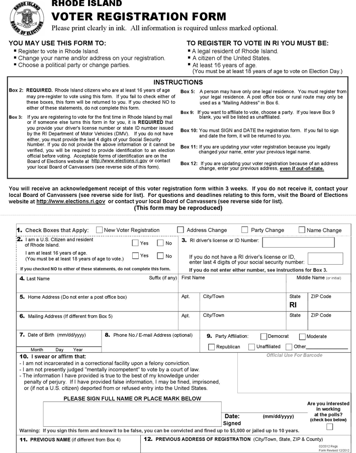 Sample Voter Registration Forms