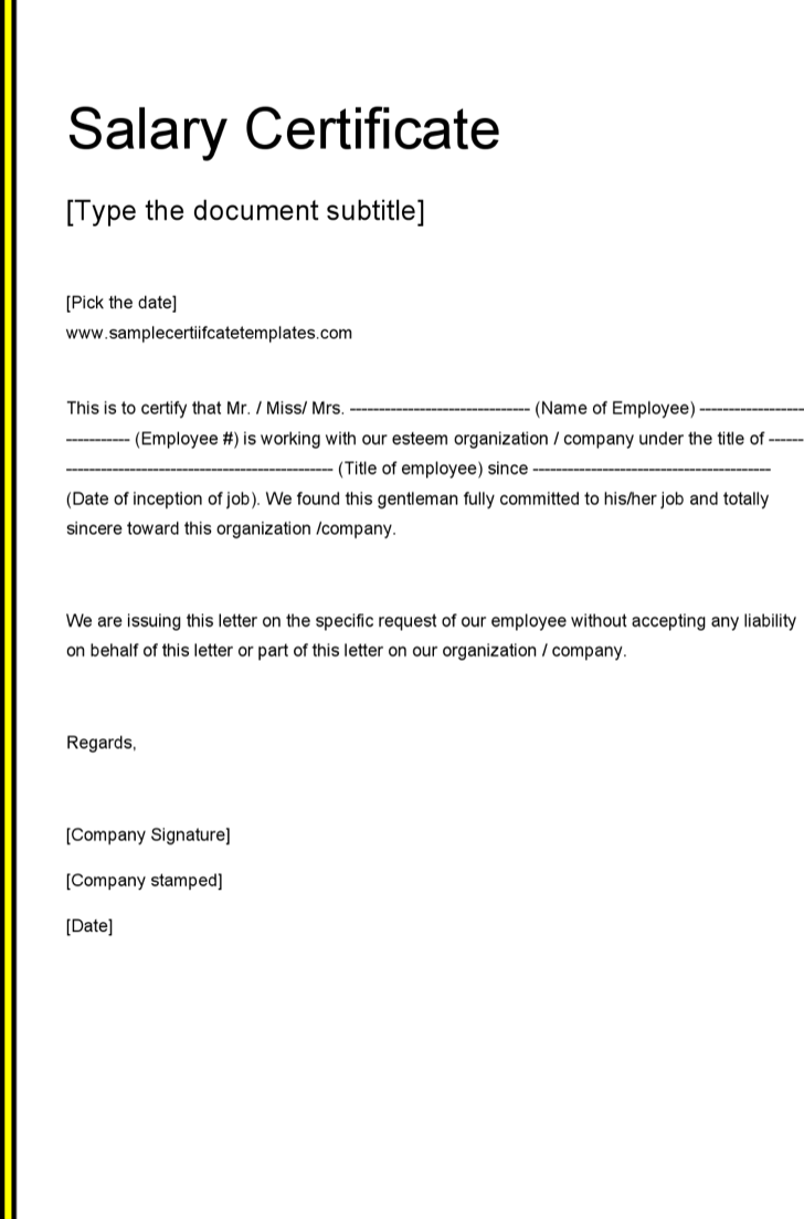 Superbe Salary Certificate Template Doc Free Download
