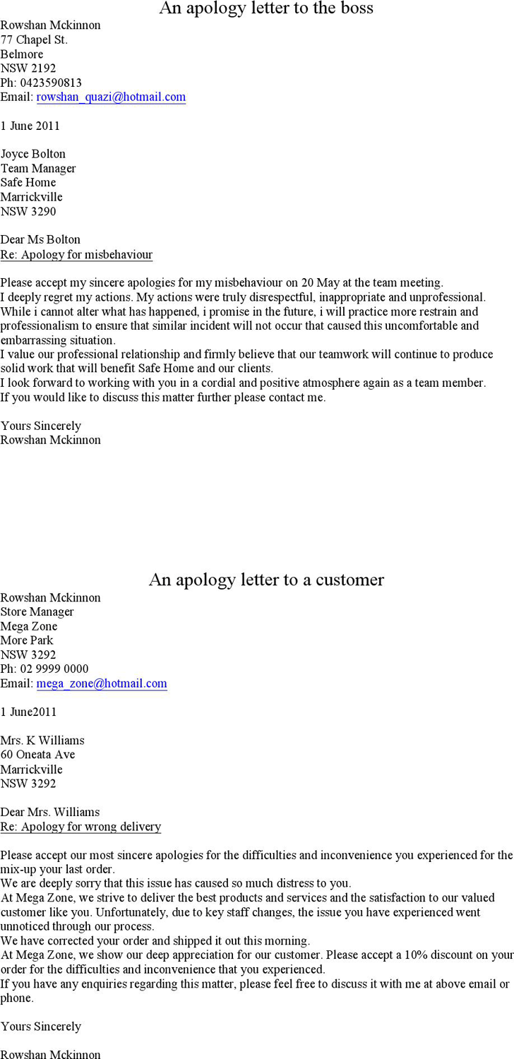 The Sample Apology Letter 1 can help you make a professional and – Sample Apology Letter to Teacher