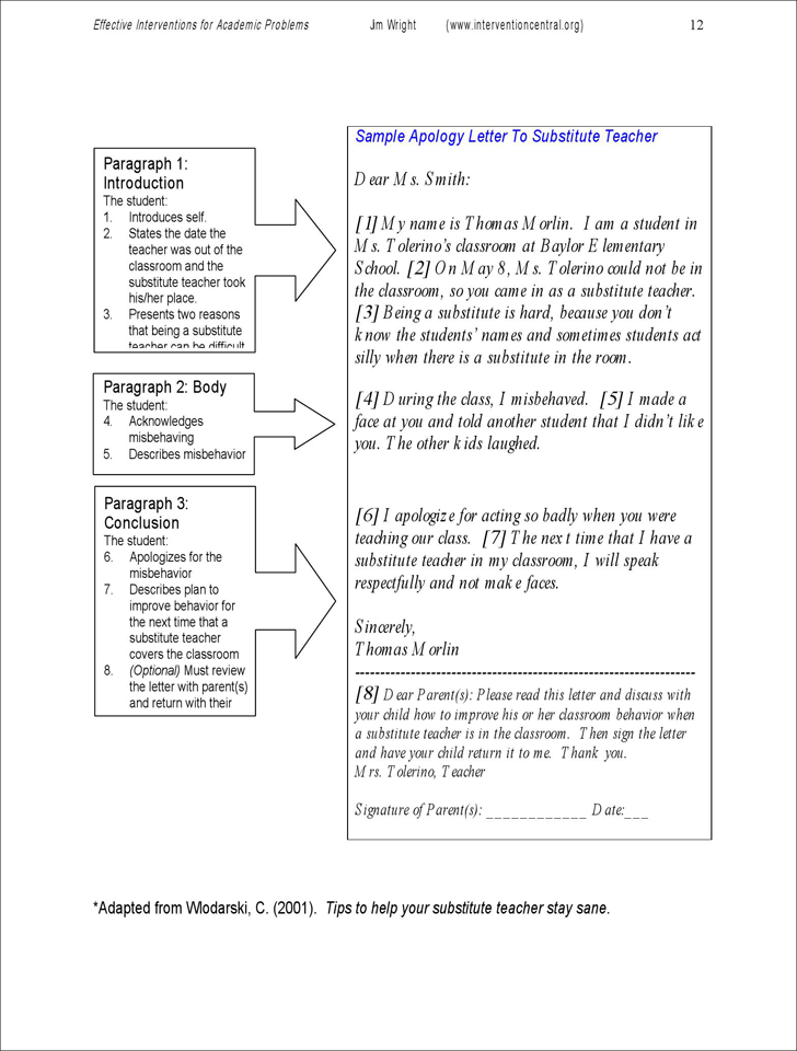Download Sample Apology Letter to Substitute Teacher for Free TidyForm