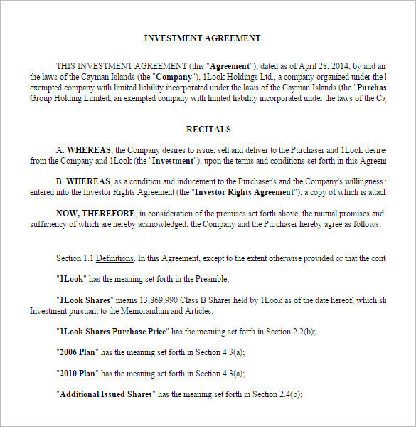 Investor Agreement Contract Printable Sample Free Rental
